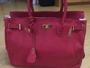 Shopper rouge fluo cuir