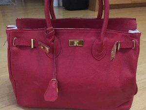Shopper rouge fluo cuir