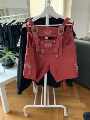 Pantalon traditionnel en cuir rouge foncé cuir