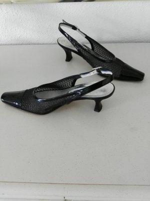 Brunella Slingback pumps zwart-zilver