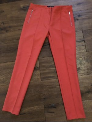 Zara Basic Drainpipe Trousers bright red
