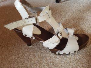 Bata Sandales à talons hauts brun foncé-blanc cassé