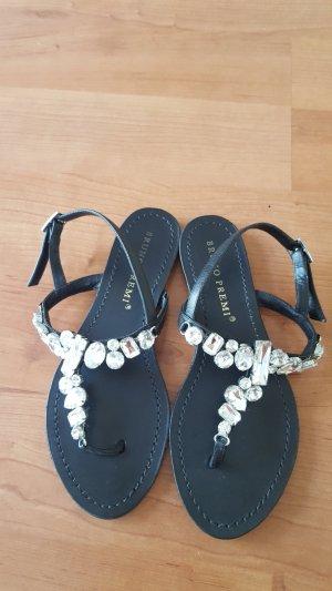 neuwertige schwarze Sandalen aus Echtlder mit Strass Gr. 36