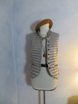 neuwertige Silbergraue Daunen Weste - WHITE LABEL  - Gr. 38 - Steppweste - Kord Details - Ärmellose Damen Jacke