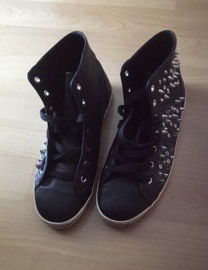 Bershka Sneakers met veters zilver-zwart