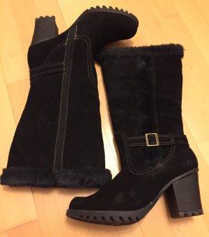 Neuwertige Stiefel aus Leder mit Fake Fur von SKECHERS