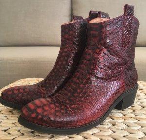 NEUwertige Stiefeletten Lazamani 38 Western Boots Bodeaux Leder Echtleder Rot
