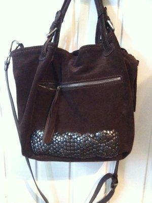 Neuwertige Wildledertasche, dunkelbraun mit Applikationen von K&S