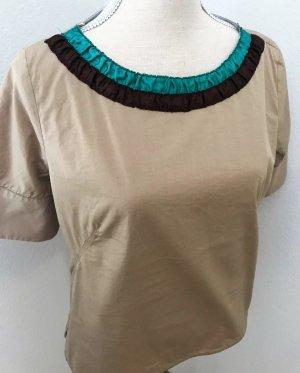 Neuwertige wunderschöne Bluse mit vielen Details und tollen Farben ❤️ ZARA Tunika Bluse neuwertig * Baumwolle Strand Rüschen Kragen Rundhals Halbarm ❤️ türkis braun * tolle FARBEN * schimmert schön im Licht :)