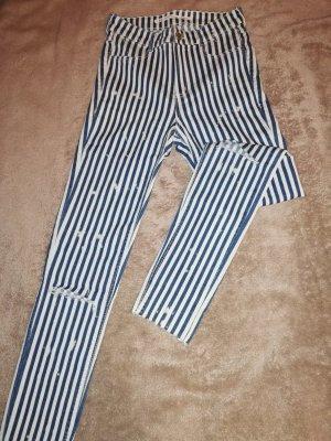 Zara Pantalón blanco-azul acero