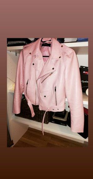 Zara Chaqueta de cuero de imitación rosa-rosa