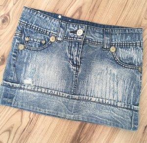 Neuwertiger Fishbone Denim Minirock Jeans Rock XS 34 36 W26 Blau Biker Jeansrock Used Look