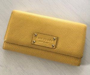 Neuwertiger Kate Spade Geldbeutel Weiß Gelb Geldbörse Clutch Portemonnaie Leder