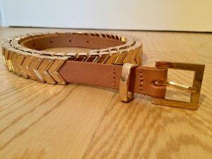 Neuwertiger Ledergürtel mit goldenen Elementen