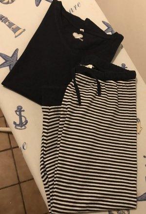 Pijama blanco-azul oscuro Algodón