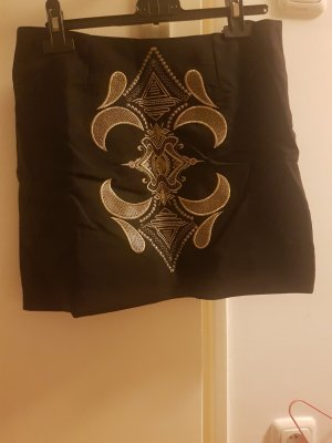 Midi Skirt black-gold-colored