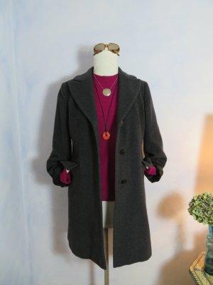 neuwertiger Wintermantel Edel und lässig DINOMODA Italy Anthrazit WOLLE CASHMERE Mantel Warm Parka Jacke 38 M