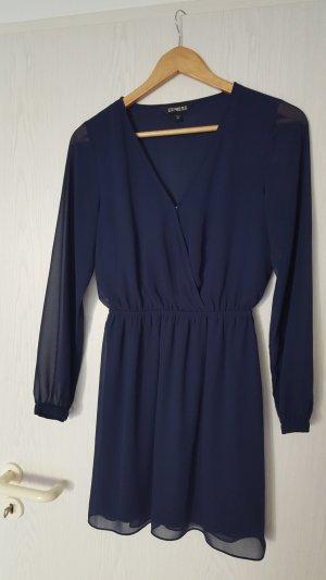 neuwertiges blaues Kleid mit Chiffonärmeln in Gr. XS von Express