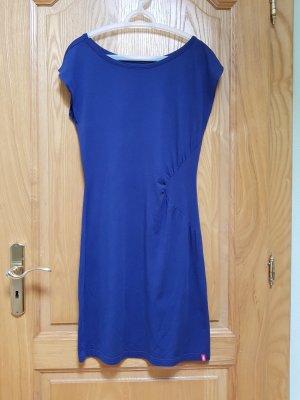 Neuwertiges blaues Kleid mit Detail-Raffung