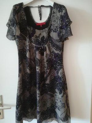 Hallhuber Chiffon jurk donkergrijs-donkerpaars