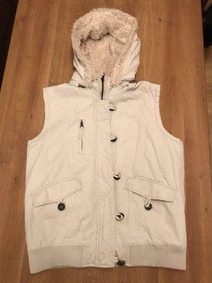 Chaleco con capucha blanco puro-beige claro