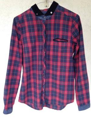 Shirt met lange mouwen donkerblauw-rood