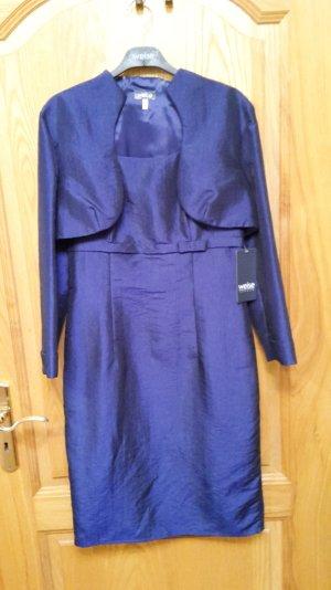 Neuwertiges knielanges dunkelblaues WEISE Taft-Kleid