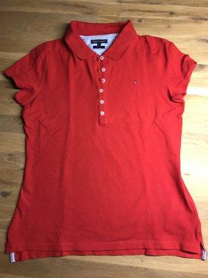 Neuwertiges rotes Tommy Hilfiger Poloshirt