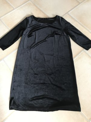 Neuwertiges Samtkleid H&M Samt Kleid Abendkleid schwarz schlicht und schön Gr. 38 - 40 Gerader Schnitt Midikleid Halbarm - Hinten 3 Knöpfe