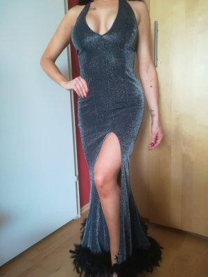 Neuwertiges sexy Kleid aus Lycra mit Kunstfedern, koerperanpassend Gr. S