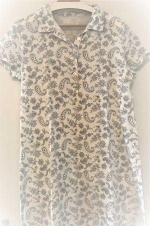 neuwertiges süßes Kleidchen aus Baumwolle * Gr. 38 M * Hauskleid Sommerkleid Nachthemd Knöpfe Schlitze tolles Muster weiß blau