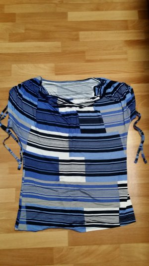 neuwertiges Top/ blau-schwarz-weiß-grau/ kurze Ärmel/ Gr. M