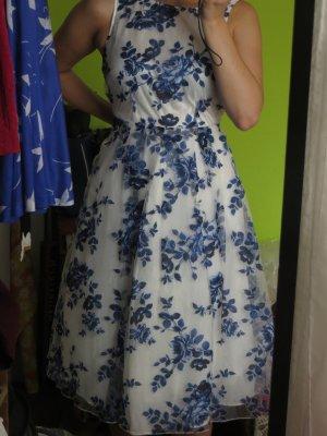 neuwertiges wunderschönes weißes Kleid mit blauem Blütenmuster von mint&berry
