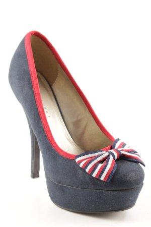 Never 2 Hot High Heels dunkelblau-rot Schleifen-Detail