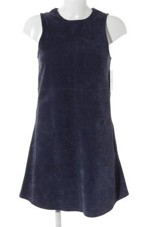 Never Denim Leather Dress dark blue minimalist style