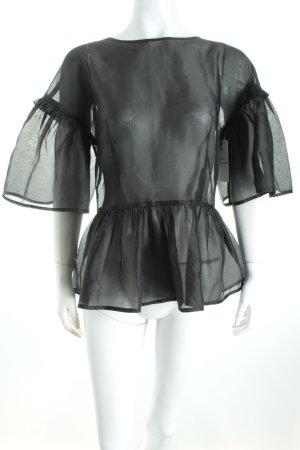 Never Denim Transparenz-Bluse schwarz Volantbesatz