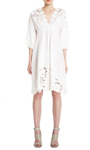 NEW | BCBG RUNWAY off white silk eyelet dress $458 VHA6496 | S Hochzeitskleid