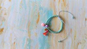 New, Bohemisches Armband, turkis Stein aus Achat,rosa Quaste, ponpon,