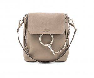 NEW Chloé Small Faye Grey/Beige Backpack in calfskin