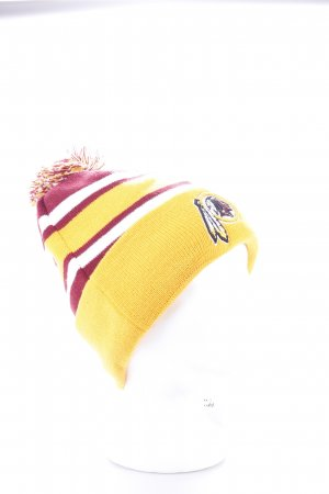 New Era Knitted Hat gold orange-bordeaux horizontal stripes athletic style