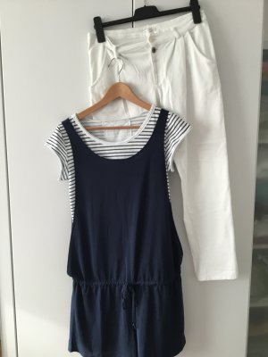 NEW IN - 3-teiliges Set / weiße Hose + Ringelshirt + Jumpsuit / Gr. S-M