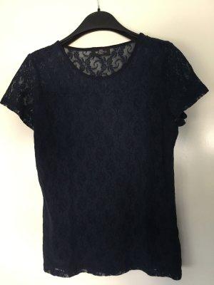 NEW IN - Blaues Shirt in Spitzenoptik Gr. 40/42