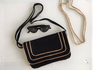 Blanco Bolso de mano negro-color oro