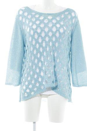 New Jersey Gehaakt shirt wit-lichtblauw losjes gebreid patroon