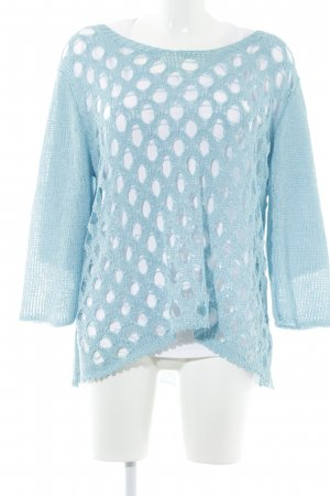 New Jersey Häkelshirt weiß-hellblau Lochstrickmuster Casual-Look