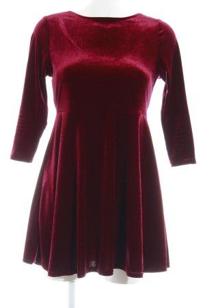 New Look A-Linien Kleid bordeauxrot Samt-Optik