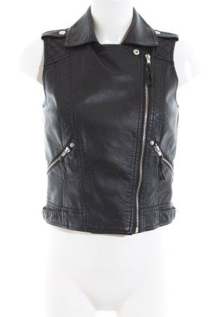 New Look Biker Vest black quilting pattern casual look