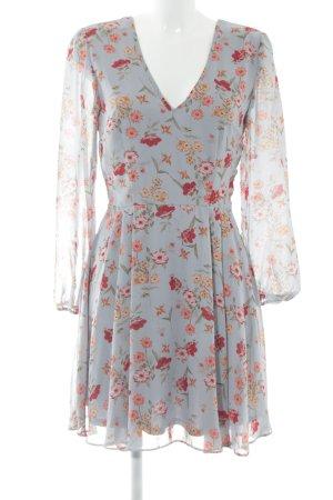 New Look Blusenkleid himmelblau-dunkelrot Blumenmuster Romantik-Look