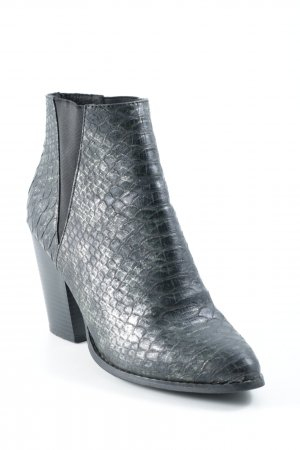 New Look Booties schwarz-dunkelgrün Animalmuster Reptil-Optik