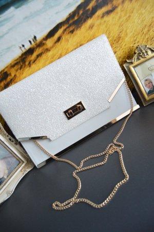 New Look Glitzer Clutch Tasche Weiss/Gold